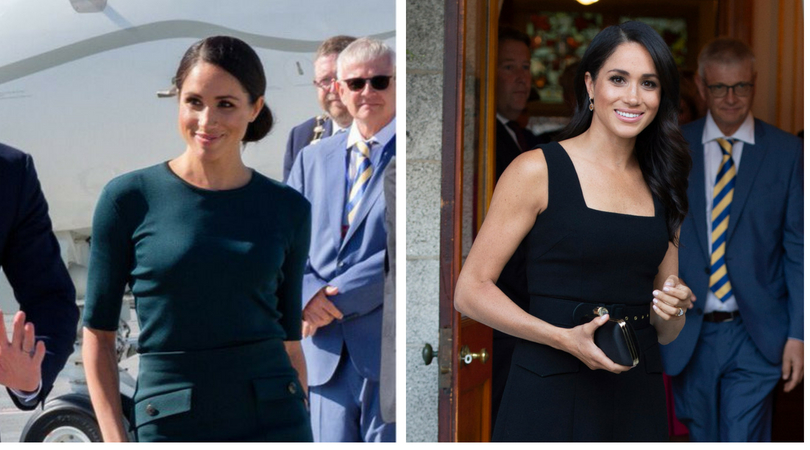 e8f2c37852 Duchess of Sussex begins tour to Ireland in green Givenchy separates   black  Emilia Wickstead